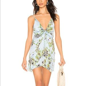 FREE PEOPLE Blue Yellow Floral Printed Mini Dress
